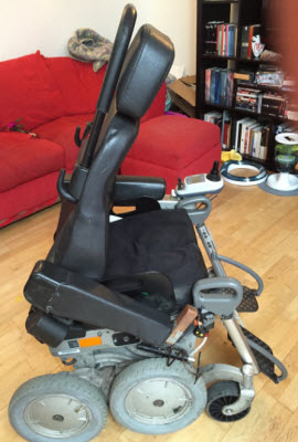Athena Stevens' damaged wheelchair