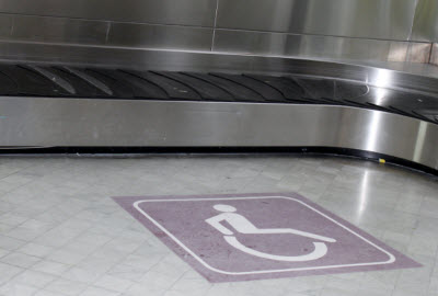 Disabled passengers reserved area near luggage belt