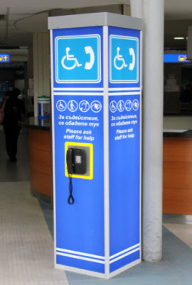 Calling column for disabled passengers