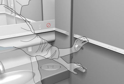 BrailleWise installed in aircraft lavatory