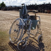 Damaged wheelchair