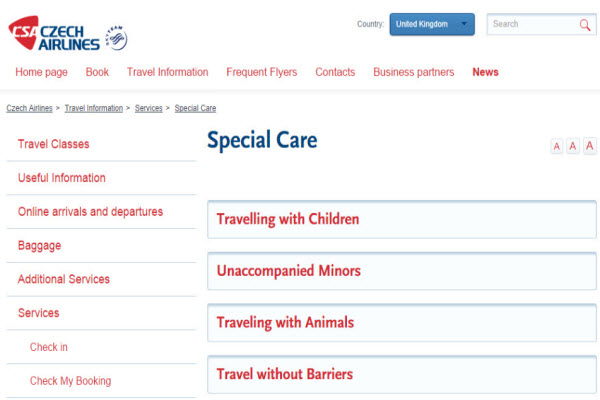 CSA Czech Airlines website content