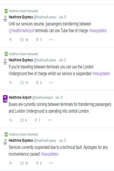 London Heathrow Airport Twitter feed