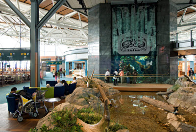 Aquarium and Creek, YVR Departures Level. Photo Credit: Larry Goldstein