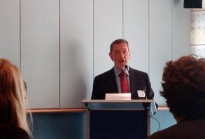 David Blunkett speaking at the event in the European Parliament
