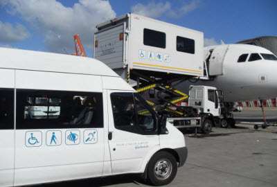 Ambulift in operation at London Gatwick airport