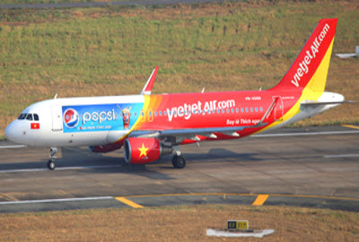 Vietjet plane painted with Pepsi logo