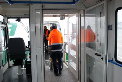 Ambulift in operation at Linate airport