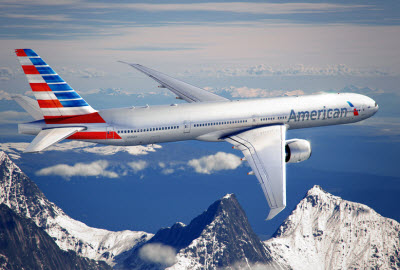 American Airlines plane in flight