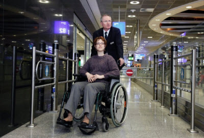 Frankfurt airport dedicated wheelchair security lane