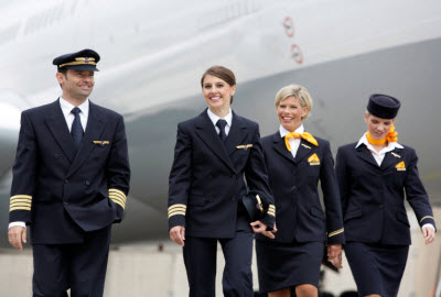 Lufthansa cockpit and cabin crew